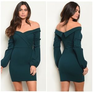 NWT TEAL OFF THE SHOULDER BODYCON DRESS 🌸❤️